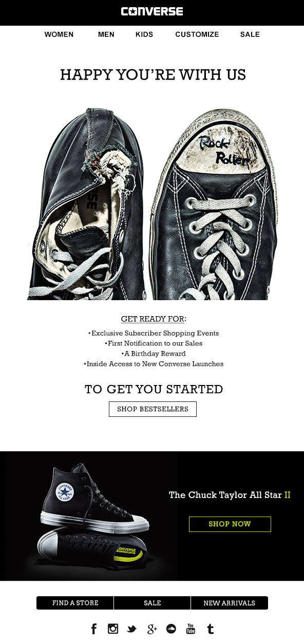 Welcome email by Converse