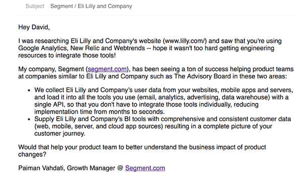 An email which includes firmographic data