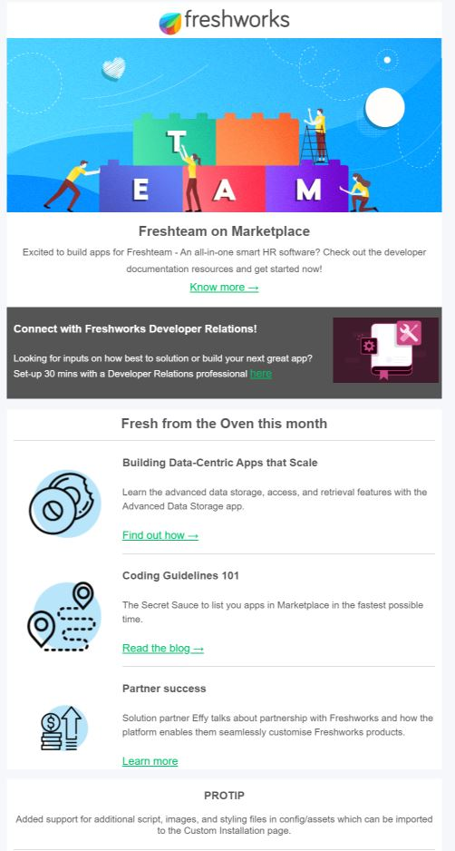 SaaS email marketing example- newsletter
