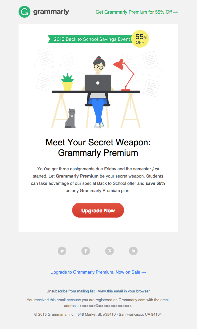 Grammarly;s promotional email